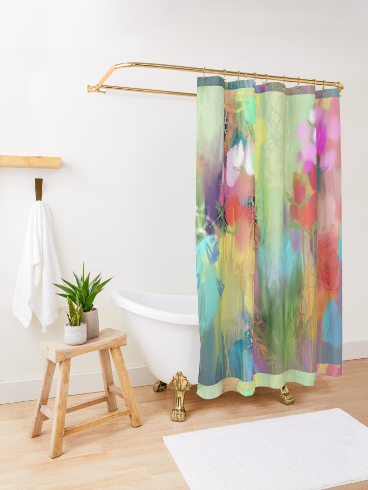 Alternate view of Red Flower Candy Meadow Shower Curtain