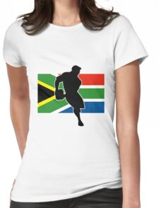 rugby player passing ball south africa flag Womens Fitted T-Shirt