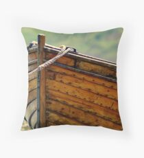wooden fishing boat. 2 Throw Pillow