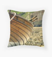 wooden fishing boat.7 Throw Pillow