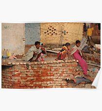 Family ablutions - Delhi railway trackside Poster