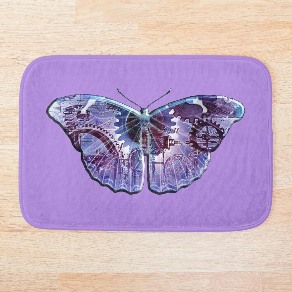 Steampunk Butterfly - Blue and Purple Bath Mat