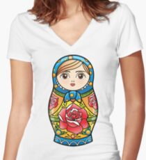 russian nesting doll Women's Fitted V-Neck T-Shirt
