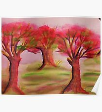 3 nice big trees , probly Oak, in watercolor Poster