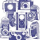Vintage Camera Collage in Blue by RetroArtFactory