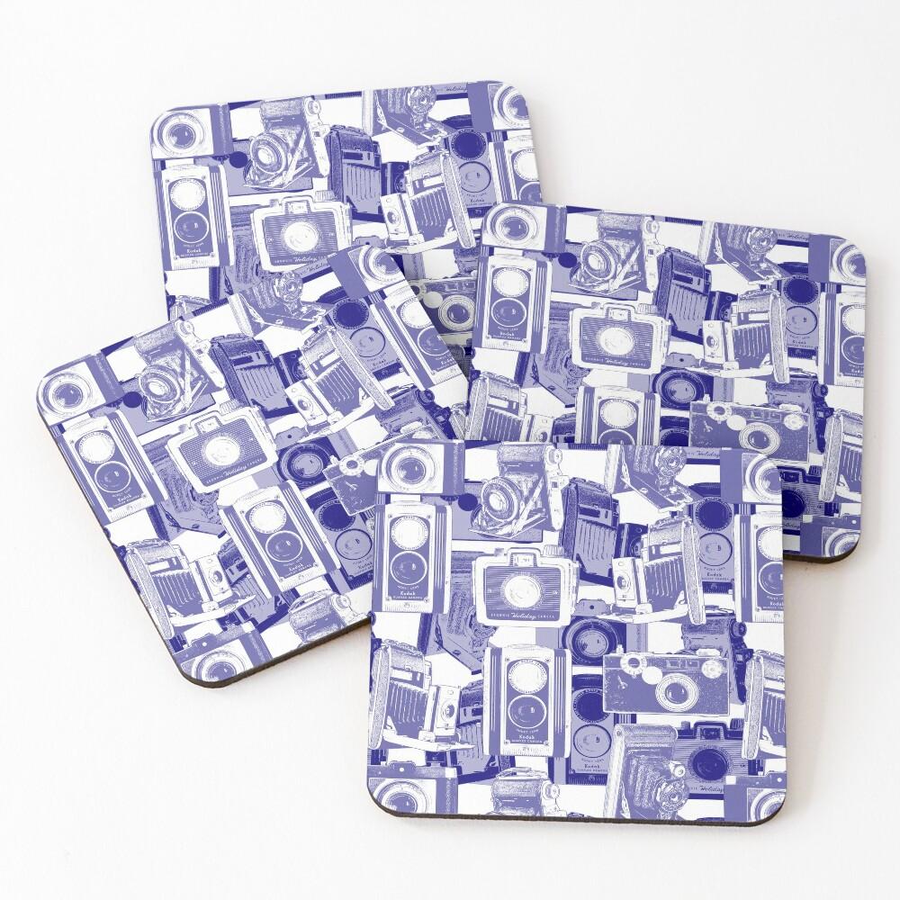 Vintage Camera Pattern in Blue Coasters (Set of 4)