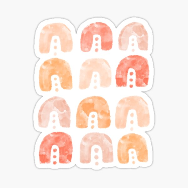 Living Coral Aesthetic Arches Pattern  Sticker