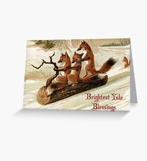 Victorian Sledding Foxes Solstice Greeting Greeting Card