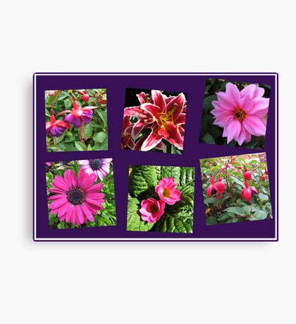 Pink Summer Flowers Collage on Purple Background Leinwanddruck