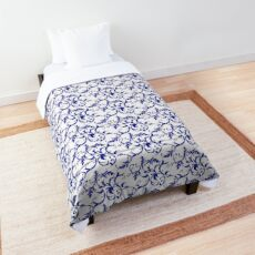 swirl floral - blue Comforter