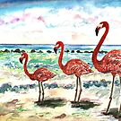 Flamingos @ The Beach by mleboeuf