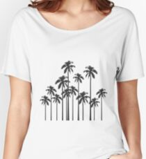 Black and White Exotic Tropical Palm Trees Women's Relaxed Fit T-Shirt