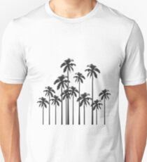 Black and White Exotic Tropical Palm Trees Unisex T-Shirt
