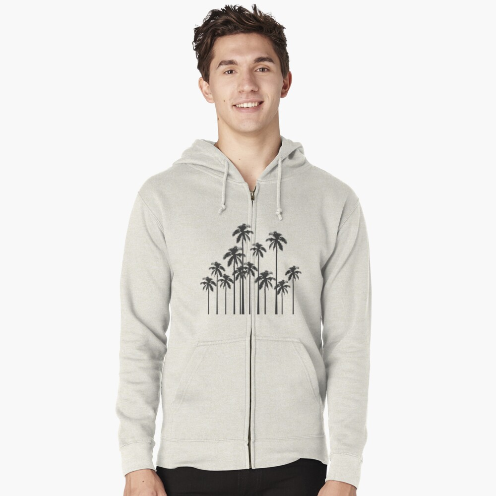 Black and White Exotic Tropical Palm Trees Zipped Hoodie