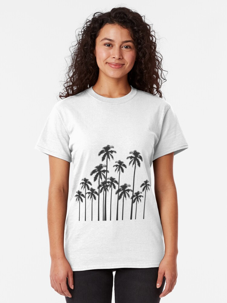 Alternate view of Black and White Exotic Tropical Palm Trees Classic T-Shirt