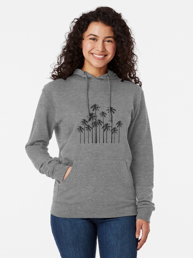 Alternate view of Black and White Exotic Tropical Palm Trees Lightweight Hoodie