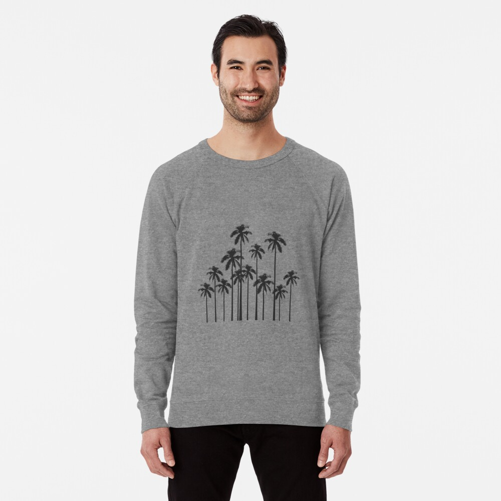 Black and White Exotic Tropical Palm Trees Lightweight Sweatshirt