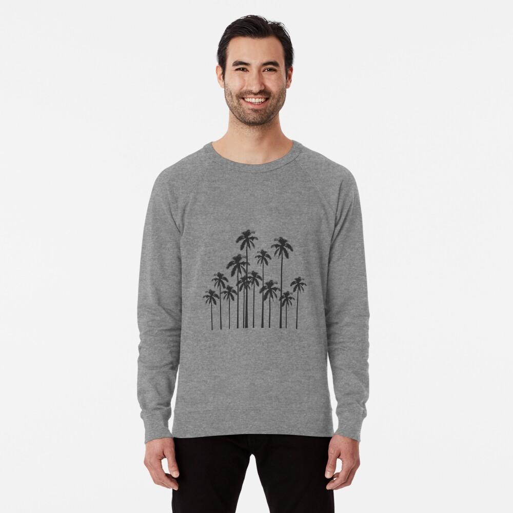 Exotische tropische Schwarzweiss-Palmen Leichter Pullover