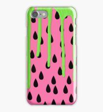 Funky Watermelon Neon Green Paint Drips iPhone Case/Skin