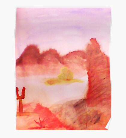 Desert Rock and Mountains in watercolor Poster