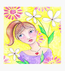 Whimiscal girl with pony tail Photographic Print