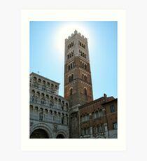 Sun Hiding Behind Tower - Lucca, Italy Art Print
