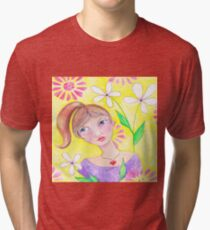 Whimiscal girl with pony tail Tri-blend T-Shirt