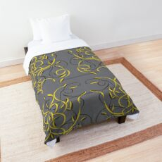 Floral motif in slate and yellow Comforter