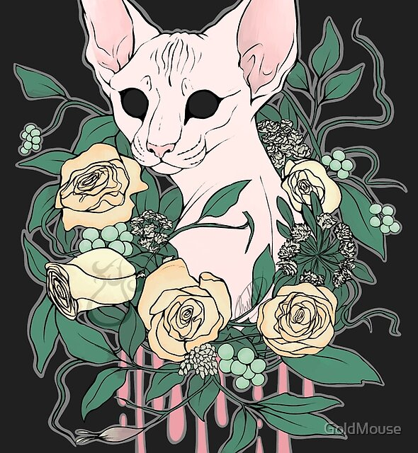 Light Floral Feline by GoldMouse