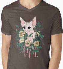 Camiseta de cuello en V Luz Floral Felino