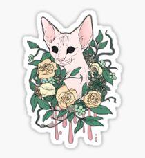 Light Floral Feline Sticker