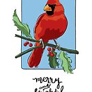 Merry and Bright - cheerful holiday red cardinal bird by shinypennyart