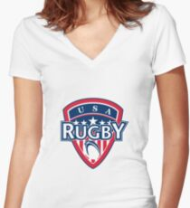 rugby ball and shield usa Women's Fitted V-Neck T-Shirt