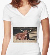 Bull Relaxing Women's Fitted V-Neck T-Shirt