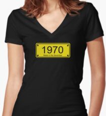 70s Number License Plate T-Shirt ~ 1970 ~ Born in the Seventies Clothing Fitted V-Neck T-Shirt