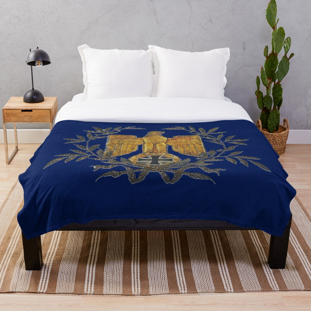 Gold Eagle with Iron Cross  Throw Blanket