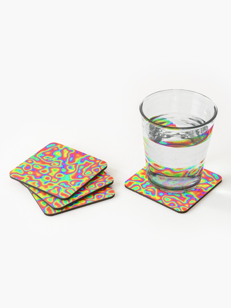 Alternate view of Rainbow Chaos Abstraction II Coasters (Set of 4)