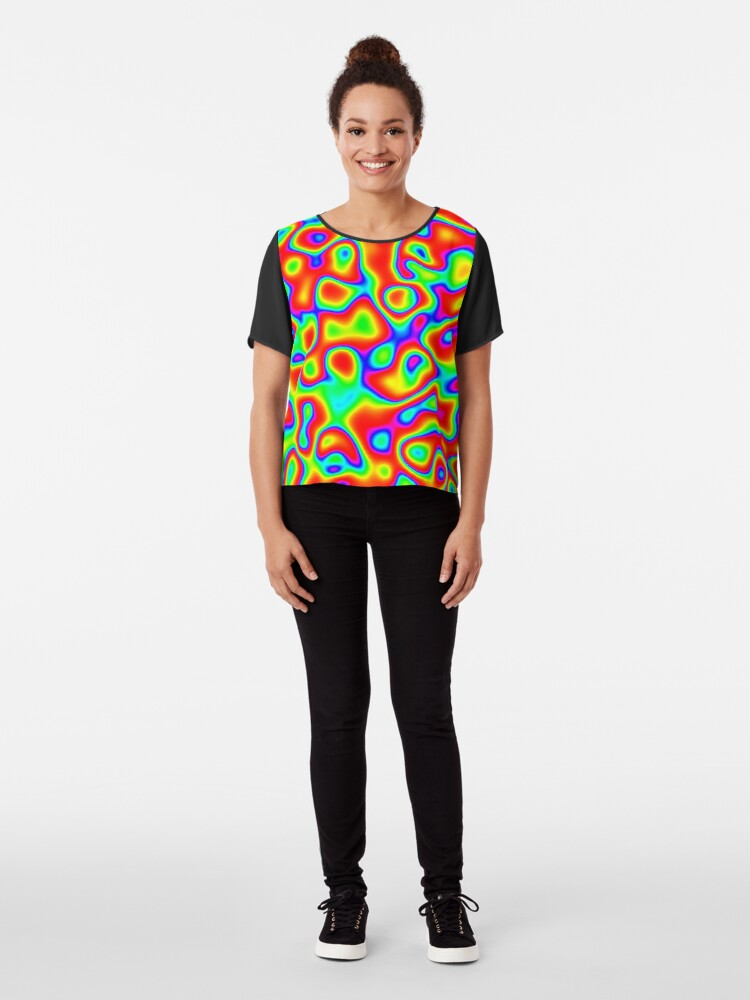 Alternate view of Rainbow Chaos Abstraction II Chiffon Top