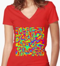 Rainbow Chaos Abstraction II Fitted V-Neck T-Shirt