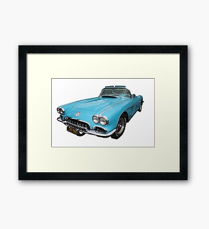 My big blue car Framed Print