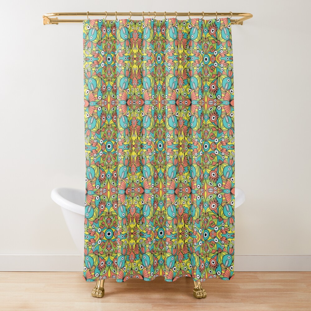 Odd funny creatures multiplying in a symmetrical pattern design Shower Curtain