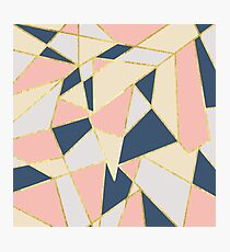 Girly Geometric Triangles with Faux Gold Photographic Print