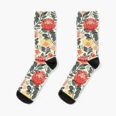 Protea Chintz - Grey & Red Sock