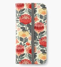 Protea Chintz - Grey & Red iPhone Wallet/Case/Skin