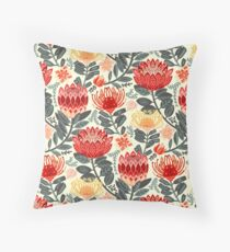 Protea Chintz - Grey & Red Throw Pillow