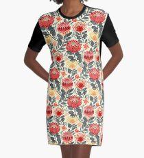 Protea Chintz - Grey & Red Graphic T-Shirt Dress