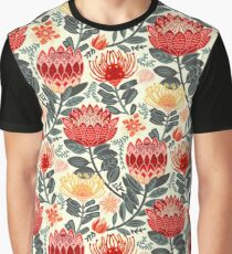 Protea Chintz - Grey & Red Graphic T-Shirt