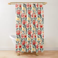 Protea Chintz - Grey & Red Shower Curtain