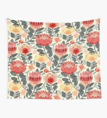 Protea Chintz - Grey & Red Wall Tapestry