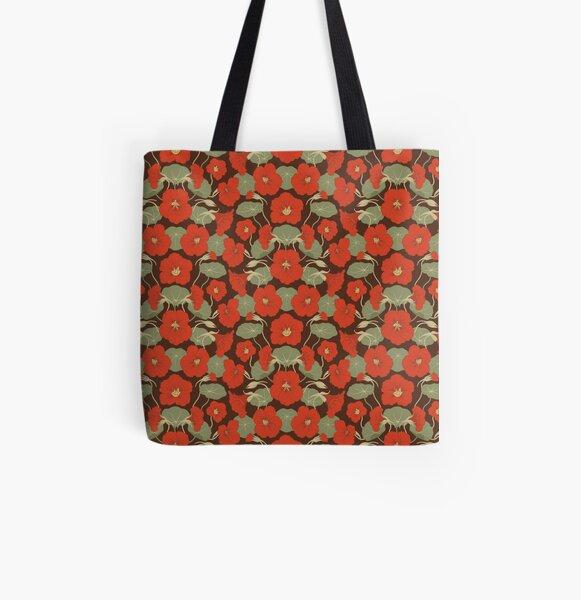 Nasturtium red All Over Print Tote Bag